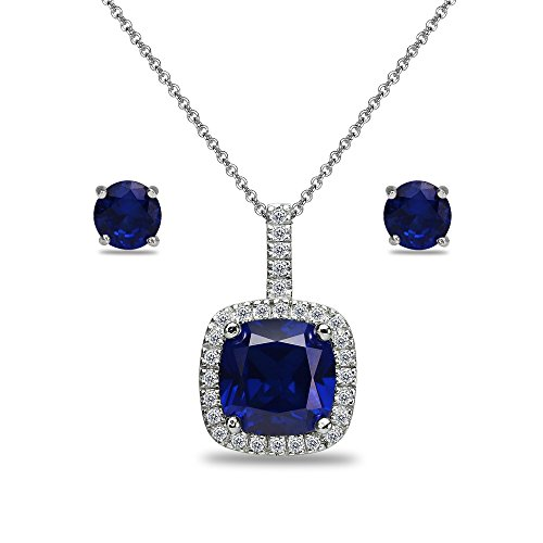 Sterling Silver Created Blue Sapphire and White Topaz Cushion-Cut Pendant Necklace & Stud Earrings Set ()