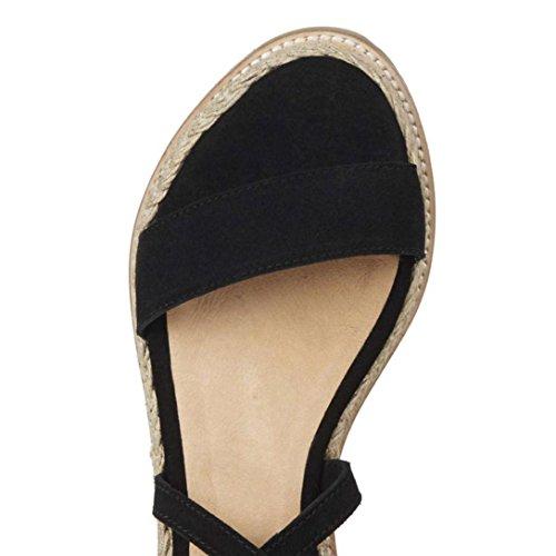Fondo Intrecciati con Scarpe con Impermeabili alla Chenang da Donna Nero Donna Spesso Zeppa Sandali con Cinturino Sandali Caviglia A IYx8B