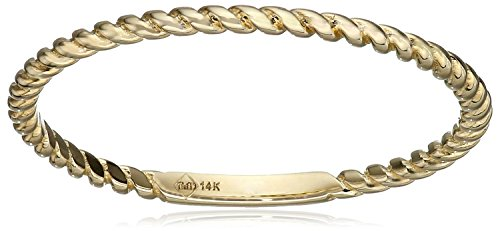 14k Yellow Gold 1mm Rope Band Stackable Ring, Size 7 (14k Stackable Yellow Gold)