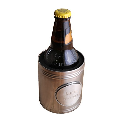 Personalized Pewter Medallion Glass (Personalized Can Cooler - Includes Pewter Medallion - Engraved Can Holder - Personalized Can Holder - Custom Monogrammed Beer Can Cooler)
