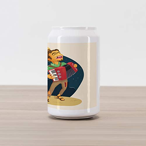 Ambesonne Music Cola Can Shape Piggy Bank, Cheerful Poor Peasant with Plaid Shirt and Patched Pants Playing Accordion in Night, Ceramic Cola Shaped Coin Box Money Bank for Cash Saving, Multicolor