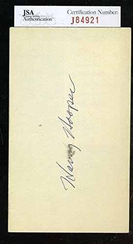 HARRY HOOPER SIGNED JSA CERTIFIED 3X5 INDEX CARD AUTHENTIC AUTOGRAPH