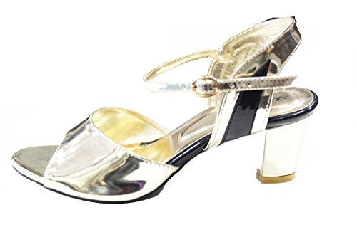 Wear & Walk UK - Sandalias de vestir de charol para mujer dorado