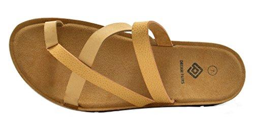 DREAM PAIRS Womens Greek Platform Wedge Flat Sandals Nude-03 LY8mDHBM5