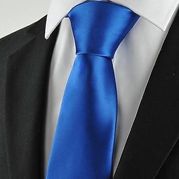 FYios®Nuevo sólido azul Royal Mens traje Corbata Corbata Regalo ...