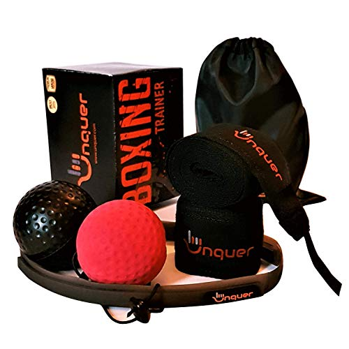 UNQUER Boxing Reflex Ball to Improve Speed Reactions - Hand Eye Coordination, Punching Accuracy and Reflexes. Best Training Equipment for Fitness and Fighting. with Training Manual and MMA Hand Wraps
