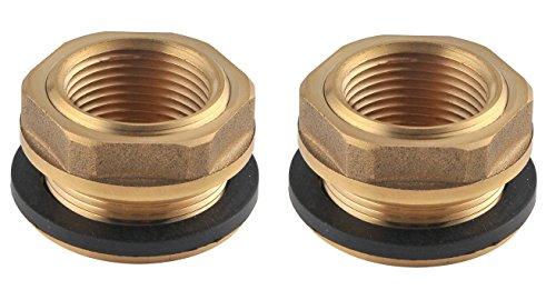 RainPro Solid Brass Rain Barrel Bulkhead Fitting, 3/4 Inch Female Straight Pipe Threaded (2)