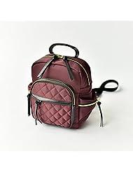 Japan and South Korea featured handbag leisure mini street mini backpack nylon Plaid backpack,Wine Red