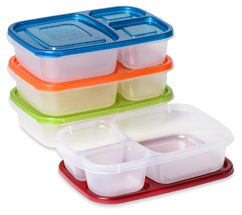 EasyLunchboxes 3-Compartment Bento Lunch Boxes, Set of 4