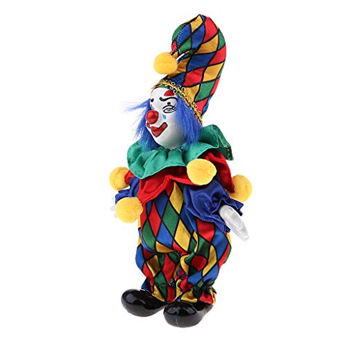 Prettyia 6inch Vintage Clown Man in Colorful Clothes Set Figure Standing Doll Home Decor #3 -