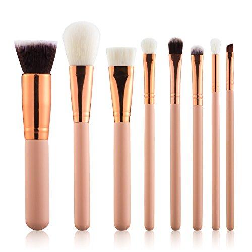 Summifit 8 Pcs Professional Makeup Brushes Set Powder Foundation Contour Blending Eyeshadow Blush Synthetic Kabuki Brush Kit (Pink Rose