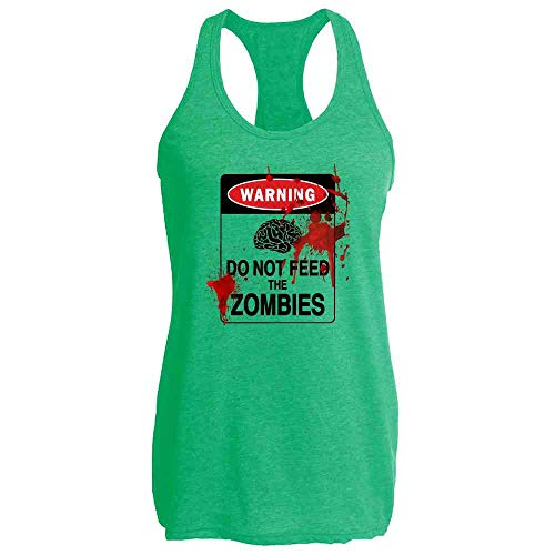 Do Not Feed The Zombies Bloody Brains Funny Heather Kelly L Womens Tank Top ()