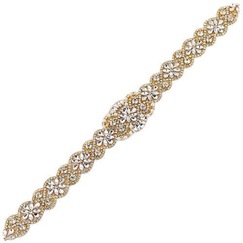 XINFANGXIU Bridal Sash Belt Applique with Crystal Rhinestone Pearl Beaded Decrations Elegant Gorgeous Pretty for DIY Wedding Party Prom Evening Dresses - Gold ()