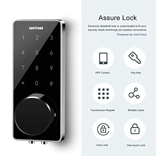 Smart Door Lock, InteTrend Electronic Deabolt Locks with Touchscreen, Work with APP Control(Bluetooth), Passcode and Key. - Keyless Entry Door Lock with Auto-Lock for Home/Hotel/Apartment, Black