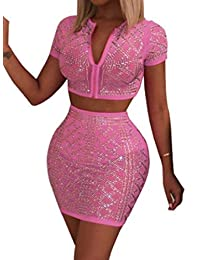 Fubotevic Womens Hot Drill 2 Pieces Short Sleeve Leotard Crop Top & Bodycon Skirt