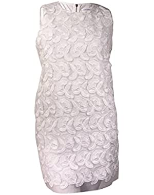 Calvin Klein Women's Embroidered Applique Organza Sheath (6, White)
