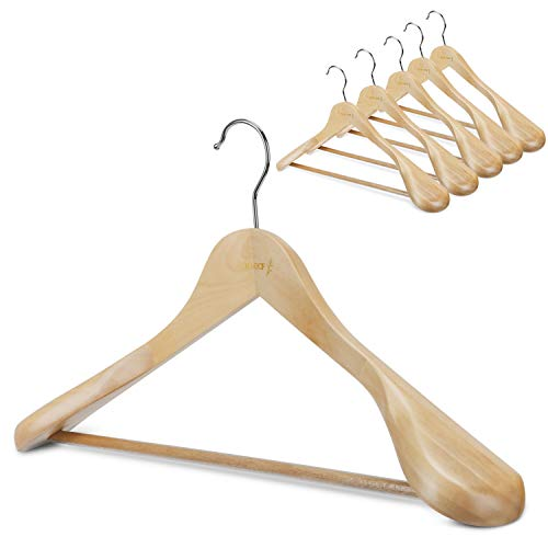 Oak Leaf Wood Hangers, 6-Pack Coat Hanger Clothes Hangers with Extra Wide Shoulder for Heavy Coat, Sweater, Trousers, Natural Finish