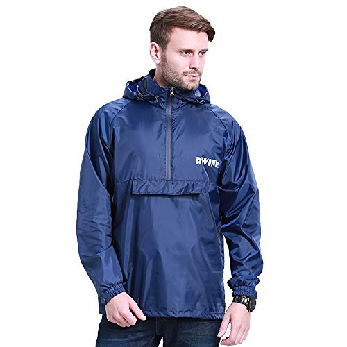 Unisex Rain Jacket Rain Ponchos Waterproof Hooded Pullover Raincoat Poncho Raincoat Men Women Portable Zip Rain Jacket Blue