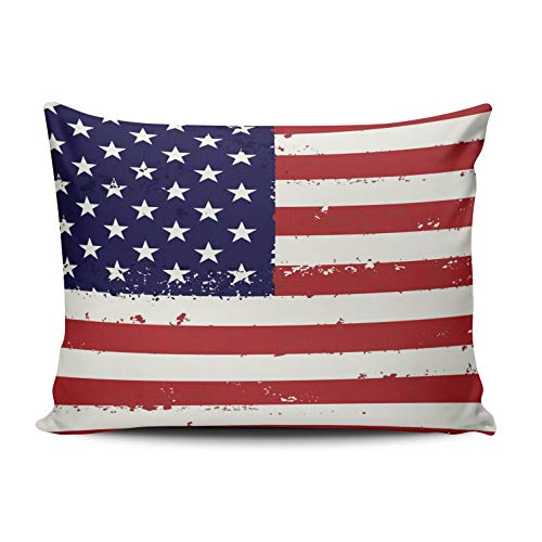 WULIHUA Home Decoration Throw Pillow Covers Blue Red and White Patriotic Flag USA Flag Boudoir Custom Sofa Cushion Cover Pillowcase Size 12X16 Inch One Sided Printed Chic Design