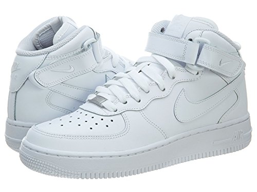 Nike Air Force 1 Mid (GS) Big Kids Sneakers White/White 314195-113 (5.5Y US)