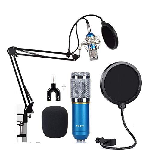 DEVICE OF URBAN INFOTECH bm 800 Condenser Microphone All Set Professional Condenser kit with Stand, Pop Filter & U Shape Adapter for Singing Studio Recording Laptop and PC (Blue)