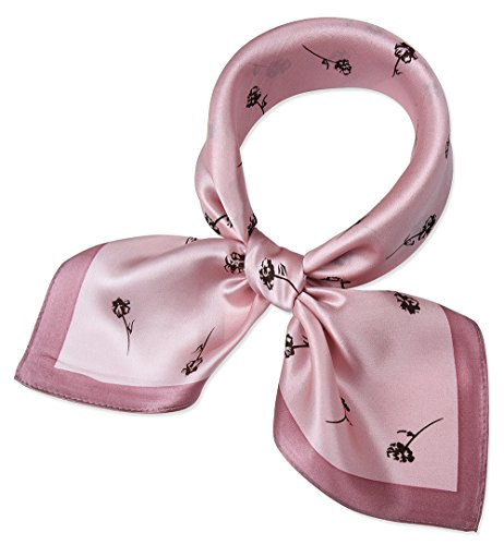 (corciova Women 100% Mulberry Silk Neck Scarf Small Square Scarves Neckerchiefs Piggy Pink Leaflet Round Bell Grass Design)