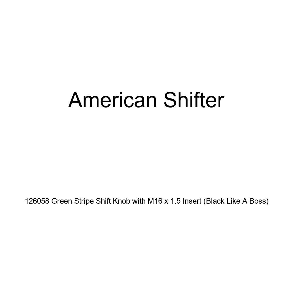 Black Like A Boss American Shifter 126058 Green Stripe Shift Knob with M16 x 1.5 Insert