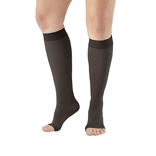 Ames Walker AW Style 201 Medical Support 20-30mmHg Firm Compression Open Toe Knee High Stockings Black XXXLarge – Relieves pain of tired aching legs – Mild Varicosities and edema