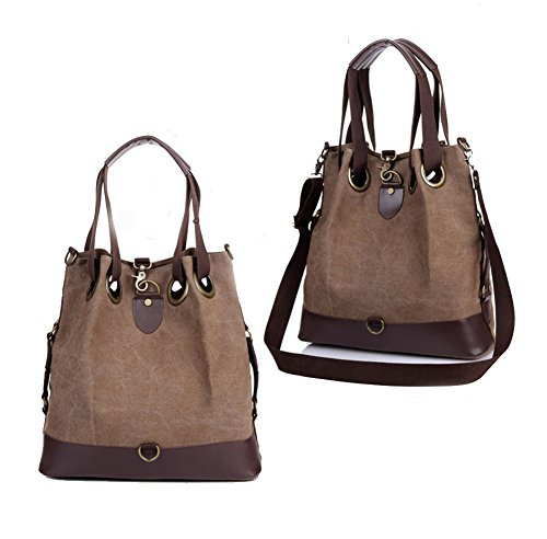 Purse Bucket Canvas Retro Hobo Bag Casual Bag Big Brown Womens Shoulder Aibag Crossbody qaR8wzw