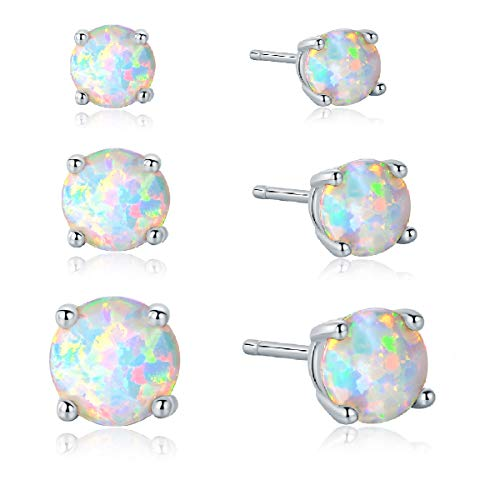 - 925 Sterling Silver 3/5/7mm Round Opal Stud Earrings Plated With 18K White Gold Pack of 3