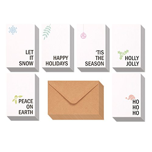 48-Pack Merry Christmas Greeting Cards Bulk Box Set - Winter Holiday Xmas Greeting Cards with Minimalistic Design, Envelopes Included, 4 x 6 Inches