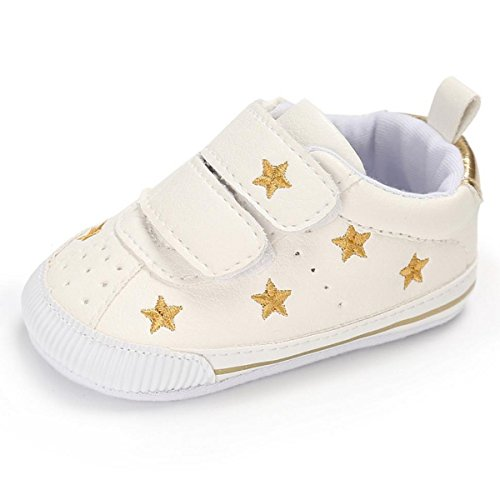 Royal Victory Toddler Baby Boys Girls Shoes 0-18 Months Slip-on PU Leather Crib Shoes Infant Walkers-by RVROVIC (12cm (6-12 Months), Gold Stars) ()