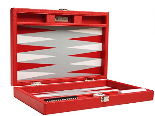 (13-inch Premium Backgammon Set - Travel Size - Red Board)