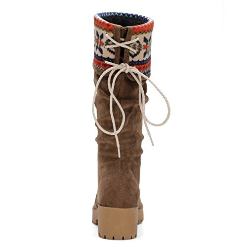 TAOFFEN Femmes Mode Talons Epais Mi-Mollet Bottes Automne Hiver A Enfiler Schuhe brown NxTeMJ