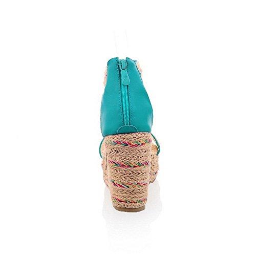 AllhqFashion Mujeres Puntera Abierta Plataforma Cremallera Colores Surtidos Sandalia Azul