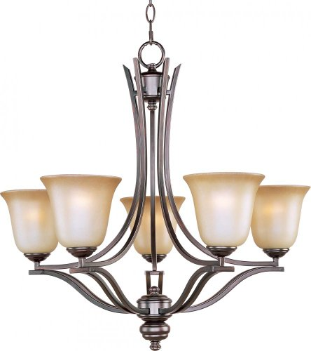 Maxim 10175WSOI Madera 5-Light Chandelier, Oil Rubbed Bronze Finish, Wilshire Glass, MB Incandescent Incandescent Bulb , 60W Max., Damp Safety Rating, Standard Dimmable, Opal Glass Shade Material, Rated Lumens