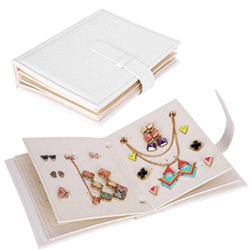 Csinos Organizer, Portable Travel Jewelry Case Pu Leather Earring Holder with Book Design(White), Medium