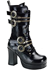 Demonia Womens Gothika-100 Calf High Boot Black 9