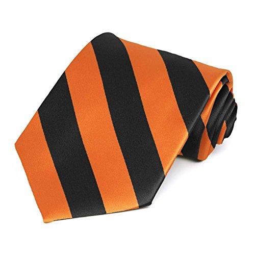 Satin Striped Extra Long Tie - TieMart Orange and Black Extra Long Striped Tie