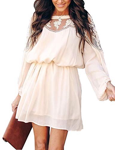 Shineya Women's Casual Dress with Floral Lace Vintage Long Sleeve Hollow Lace Dress with Belt S ()