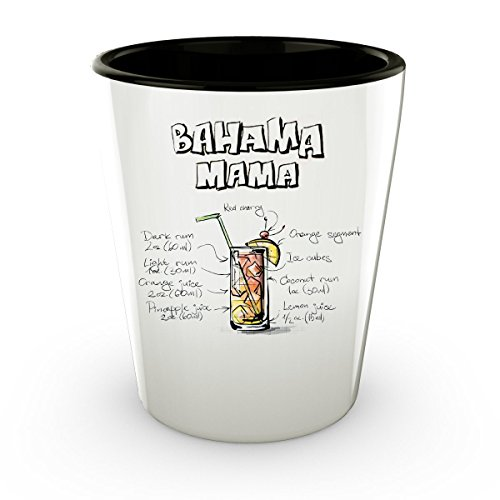 Bahama Mama Recepie - Bahamas Shot Glass - Cute Gift - Perfect Gift For Birthday, Christmass, Men, Women, Friend, Ideal For