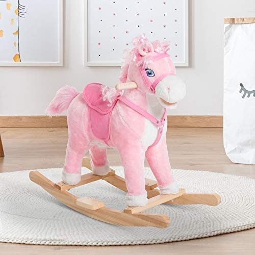 Rocking Chairs, Kids Ride On Rocking Horse Pony Toy Plush Gift Moving Tail w/Sound Pink from RAFAGREGORUS