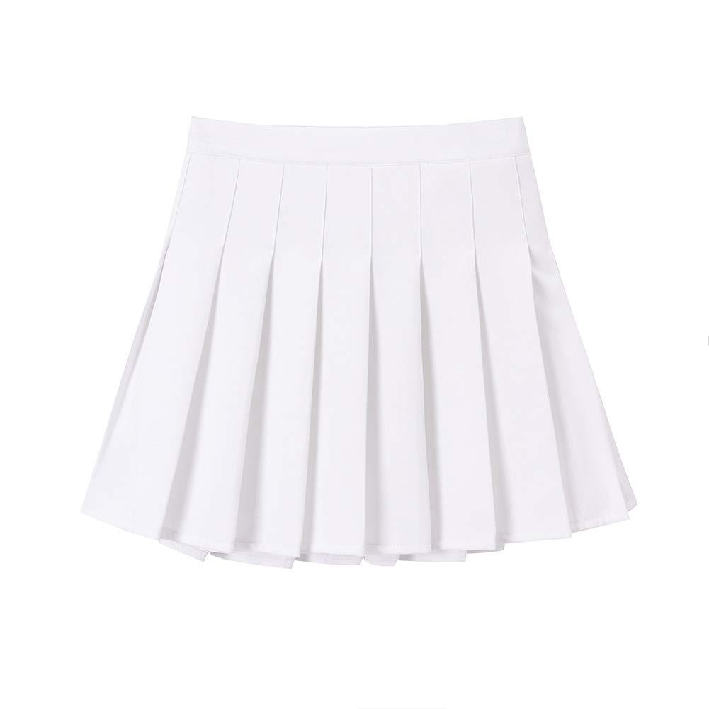 SMILING PINKER Girls Pleated Skirt School Uniforms Skort Zip Skater Scooter (White, 11-12)