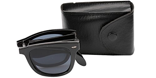 SOOLALA Limited Edition Horn Rimmed Folding Sunglasses with Compact Pocket, - Wayfarers Folding