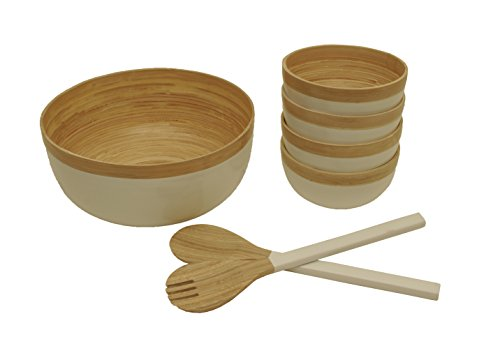 Wald Imports Natural & White Bamboo Salad Bowls with Serving Utensils, Set of ()
