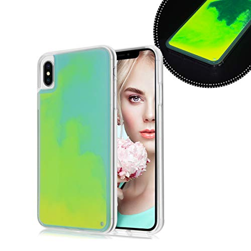 Glow Case - Losin Fluorescent Case Compatible with Apple iPhone XR Case Luxury Glow in The Darkness Noctiluncent Liquid Luminous Sand Hard PC + Soft TPU Fluorescent Case
