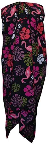 [Sarong Women Flamingo Printed Beach Swimsuit Wrap Plus Size Pareo Black] (Black Toga Dress)