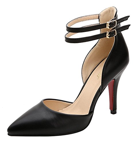 Guoar Women's Pointed Toe Stiletto Heels Ankle Strap Pumps Shoes For Party Dress Prom Black US 5