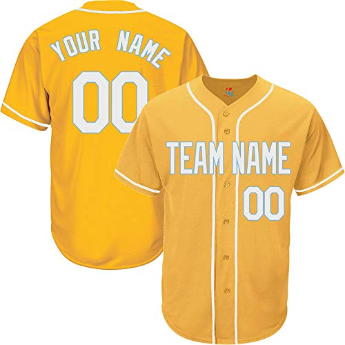 Yellow Custom Baseball Jersey for Men Big and Tall Button Down Stitched Team Player Name & Numbers,White-Light Blue Size 4XL