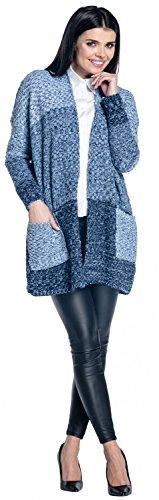 Zeta Ville - Mujer cárdigan rebeca corte recto bolsillos bloque de color - 510z Jeans & Armada